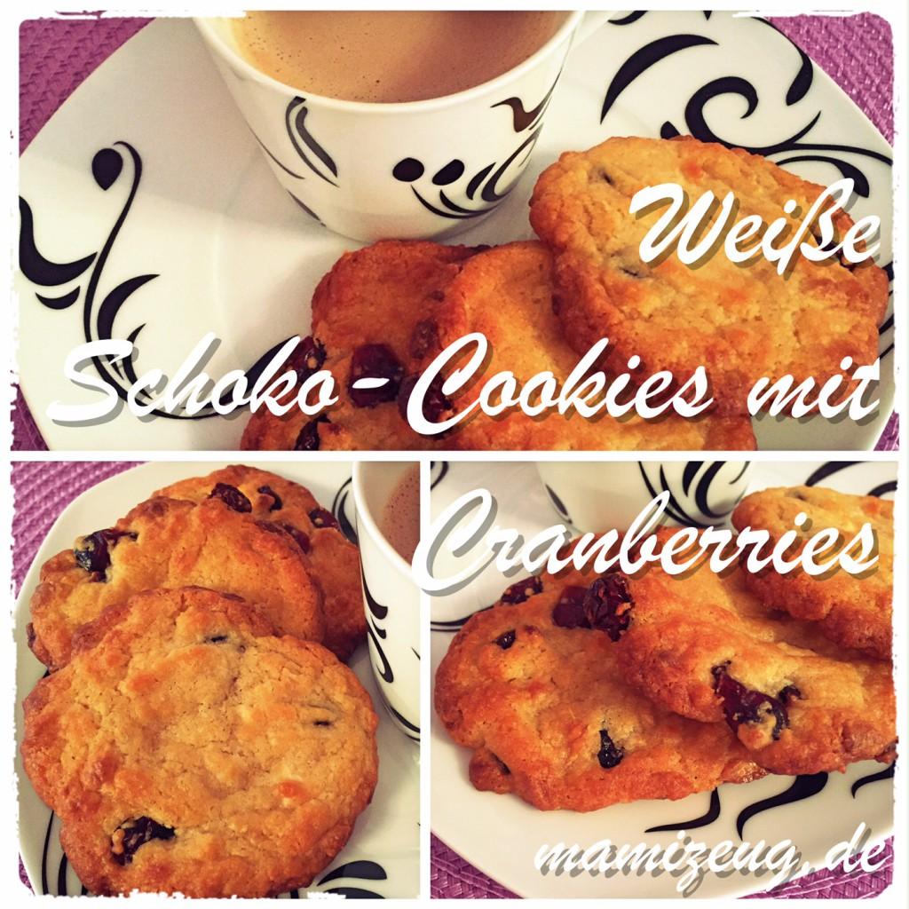 Weiße Schoko-Cookies mit Cranberries