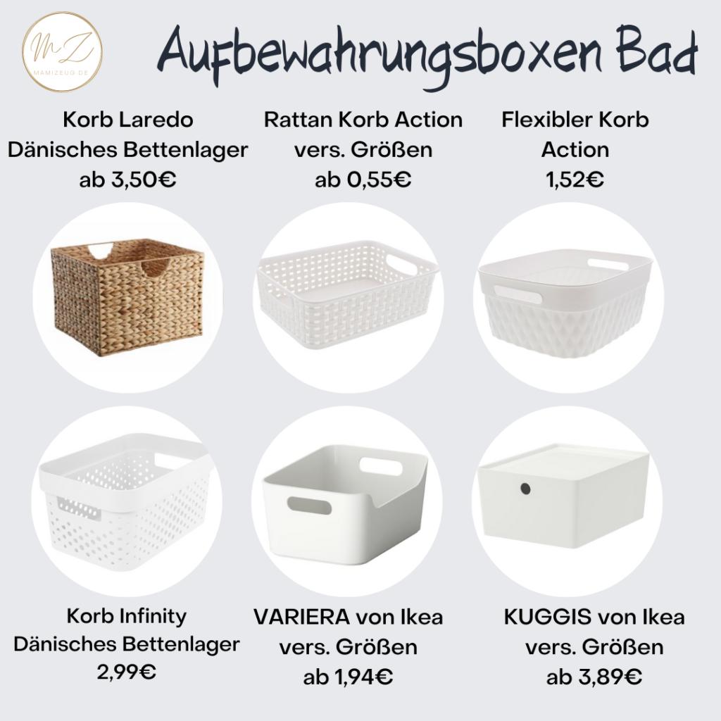 Aufbewahrungsboxen fürs Badezimmer