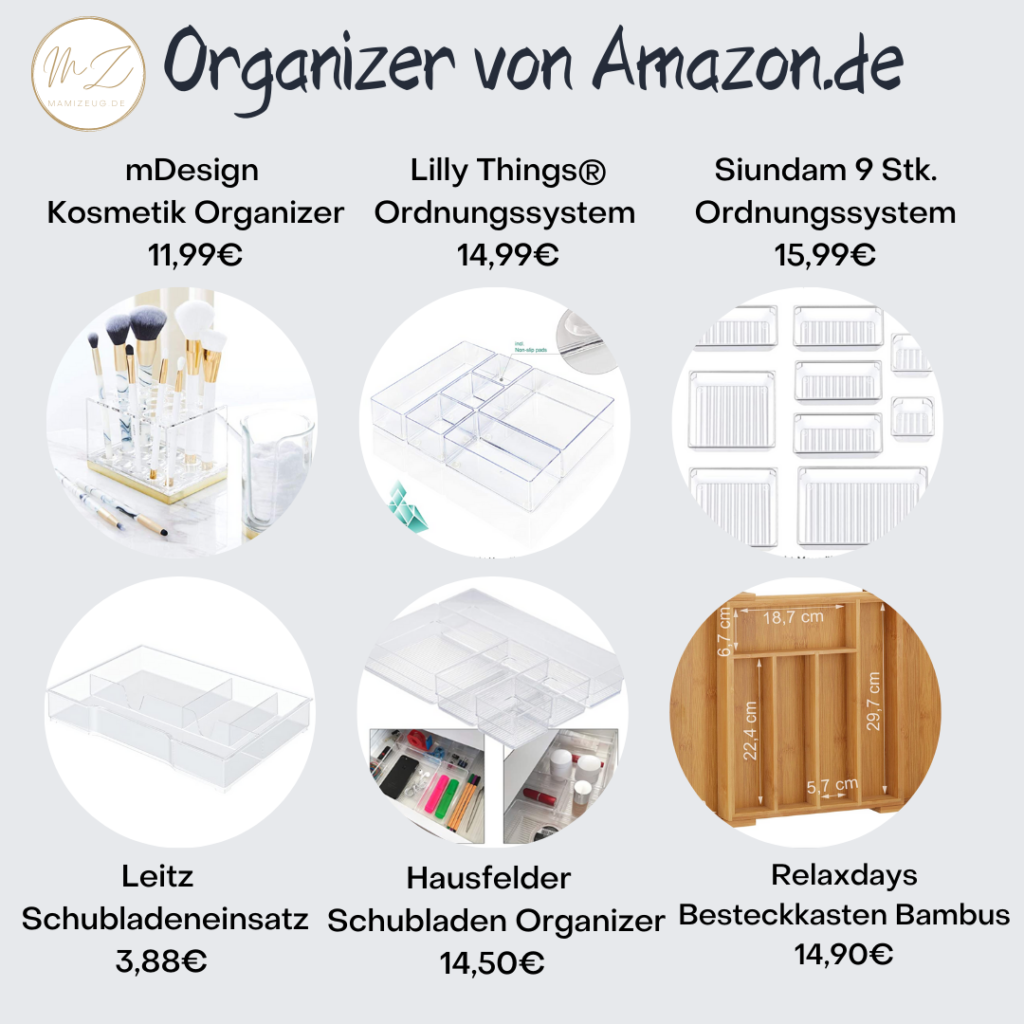 Schubladeneinsätze und Trennen von Amazon